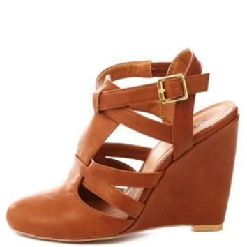 Qupid Strappy Closed Toe Wedges by Charlotte Russe - Cognac