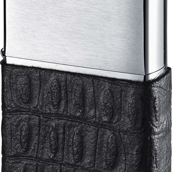 Brushed Chrome Zippo Lighter Wrapped in Black Genuine Leather