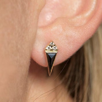Black Diamond Earring, Single Earring, Diamond Stud Earring, Rose Cut Diamond Earring, Black Diamond Stud, White Diamond Stud