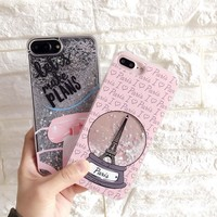 Pink Tower Quicksand Liquid Case for iPhone 8 8Plus 6 7 Plus Case Korea Fashion Glitter Case for iPhone 6s  Hard Phone shell