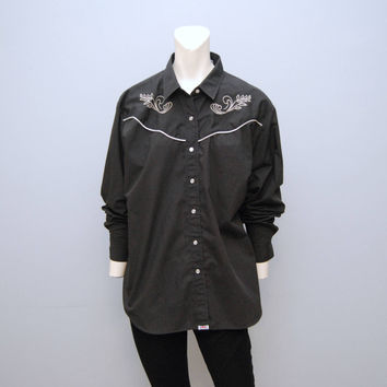Vintage 1990's Black and Silver Pearl Snap Up Western Wear Shirt Size XL Long Sleeve Cowboy Southwestern Style Embroidered