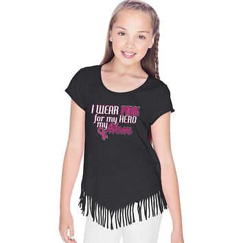 Girls Breast Cancer T-shirt Pink For My Hero Fringe Tee