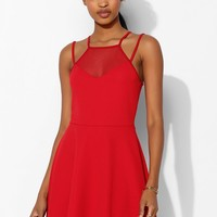 Sparkle & Fade Mesh-Inset High-Neck Skater Dress - Urban Outfitters