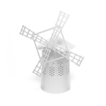 White White Windmill, pre-cut paper model kit  || 10 inches or 24 cm high || great for interior decoration or as a centerpiece