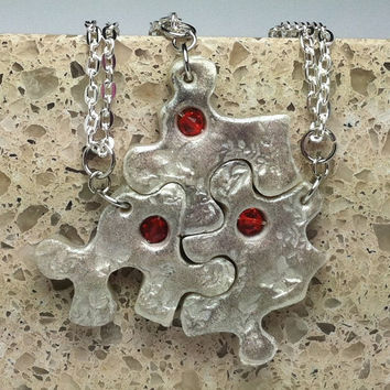 Puzzle Piece Interlocking Polymer Clay Necklaces 3 Piece Set  with Suspended Crystals