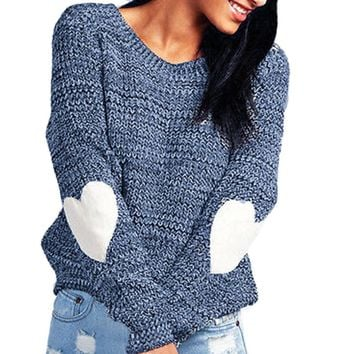 Women Fashion Hearted Sleeve Loose Knitted Causal O-Neck  Daliry party Sweater Jumper  Pullovers