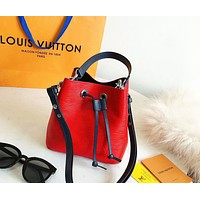 LV tide brand female models simple solid color bucket bag shoulder bag red