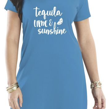 Beach Cover Ups, Tequila Lime & Sunshine Women's Short Sleeve Cover Up Dress