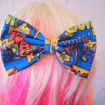 Superman Comics Hair Bow / Clark Kent / Man of Steel / DC comics / Super man hair bow / superman fabric bow / superman