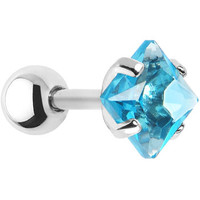 16 Gauge 5mm Aqua CZ Square Cartilage Tragus Earring | Body Candy Body Jewelry
