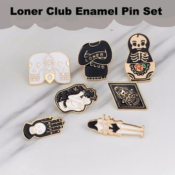 "Skeleton skull ""loner club"" Enamel pins brooches for Bookbags and Shirts"