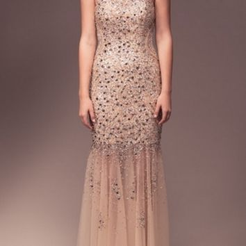 KC131575 Gold Jeweled Backless Prom Dress by Kari Chang Couture