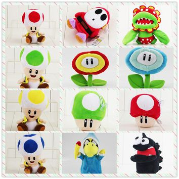 9-36cm Super Mario Bros Plush Cartoon Doll Toys Luigi Magic Koopa Turtles Chorodon Shy Guy Petey Piranha Corpse Ice Sun Flower