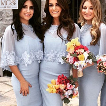 2016 MGS Unique Bridesmaid Dresses Special Chiffon V-Neck Lace Appliqued Floor-Length With Shawl Wedding Party Dress Bridal Gown