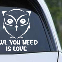 Owl (26) You Need is Love Die Cut Vinyl Decal Sticker