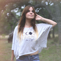 Moon Phase Dolman Top in Heather Grey