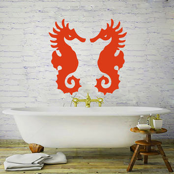 Wall Decals Decal Vinyl Sticker Sea Horse Bathroom Bathroom Shower Nursery Bedroom  Home Decor Art Murals MN154
