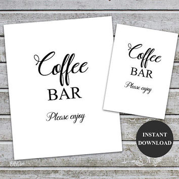Coffee Bar Sign Printable Wedding Sign Baby Shower Signs Coffee Bar Table Instant Download Wedding Signage Bridal Brunch Sign (v32-1)