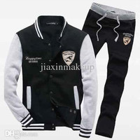 2014 Fashion New Color matching embroidery Sweatshirts With Pants,Outerwear Clothing Men sport suits .men sportswear Suit Men