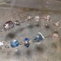 Clear and Blue Glass Bead Bracelet