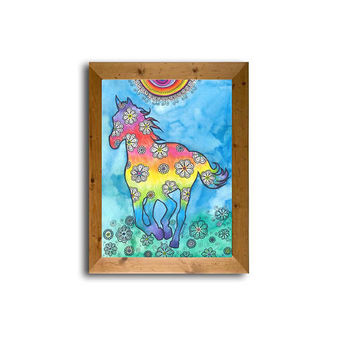 Horse painting, Rainbow colors, Kids Nursery Room Decor, Rainbow Horse Silhouette Drawing Wall Decor, Original colored pencil Illustration,