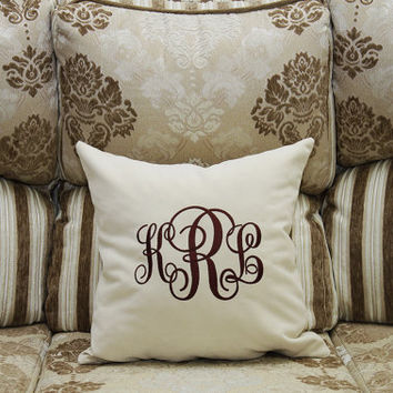 Monogram Pillow Covers Custom Personalized Family Name Initial Pillow Cover Home Decor Monogrammed Throw Pillows Wedding Gift Anniversary V1