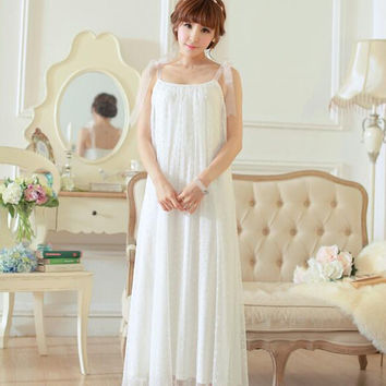Free Shipping Princess Nightgown Women's Long Pijamas White Strap Sleepwear Summer Nightshirt