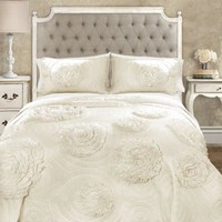 Calliope Rose 3 PC Flower Ruffle Quilt Bedding Collection