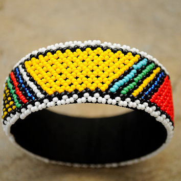 African Beaded Cuff Bangle,Statement Cuff Bracelet,Red Green and yellow Beaded Bangle,Traditional African beadwork,Tribal Accessories