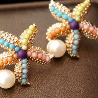 Colourful Sea Star Pearl Earrings