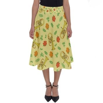 Tuba And Flower Pattern Perfect Length Midi Skirt