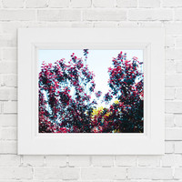 Tree photography Print. Floral photography print. Colorful tree photography print. Home wall art. Apartment wall art. Red tree wall art.