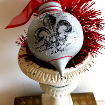 Solid Wood Hand Painted and Decoupage Parisian Christmas Finial  Ornament Country French French ornaments