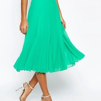 ASOS PETITE Pleated Midi Skirt at asos.com