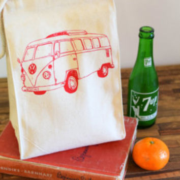Reusable Lunch Bag - Screen Printed Recycled Cotton Lunch Sack - Eco Friendly Lunch Box - Handmade - Canvas Tote - Whats for Lunch Tote Bag