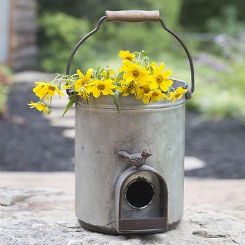 Vintage Style Metal Bucket Birdhouse and Planter with Song Bird