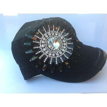 Black Hat with Black Rhinestone Daisy