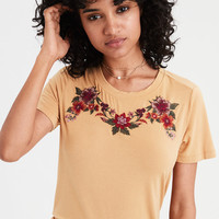 AE Soft & Sexy Embroidered T-Shirt, Yellow