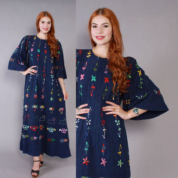 Vintage 60s Mexican DRESS / 1970s Embroidered Navy Cotton Bohemian Festival Wedding Dress