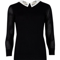 Embellished collar sweater - Black | Sweaters | Ted Baker