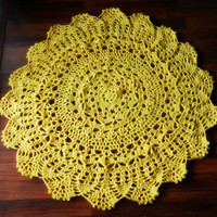 Yellow Doily Round Rug, Crochet doily Rug, Shabby Chic Home Decor, French Country Rug, Nursery Rug, floral rug, floor mat, carpet, door mat