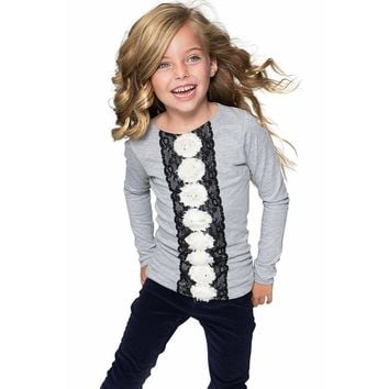 Cute Grey Fancy Long Sleeve Top with Lace & Flower Trim - Girls