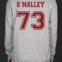 O`Malley 73 Maroon Ink on Back Greys Anatomy Unisex Crewneck Sweatshirt
