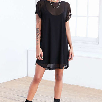 Silence + Noise Mesh T-Shirt Mini Slip Dress | Urban Outfitters