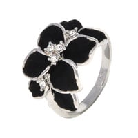 Dear Deer White Gold Plated Floral Black Leaves Cocktail Ring