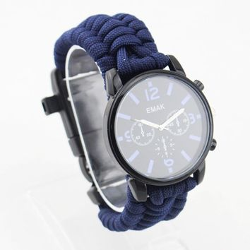 Multi-functional Outdoor Camping Survival Watch Compass Thermometer Whistle Rescue Rope Paracord Bracelet Equipment Tools Kit