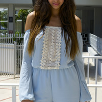 Sky Blue Off the Shoulder Romper - Light Blue