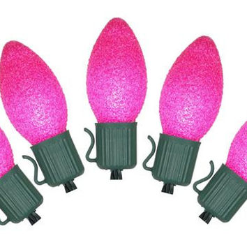 Pink C7 Christmas Lights - 10 Sugared Bulbs On Gren Wire