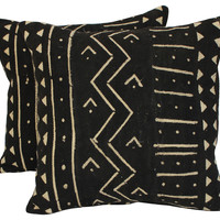 Mali  Tribal Mud Cloth Pillows,   Pair