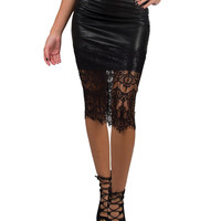 Faux Leather Lace Pencil Skirt - Black /